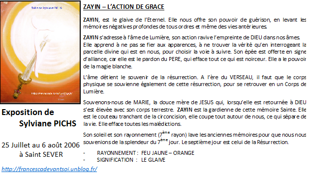 CARTE ZAYIN - l'action de grace